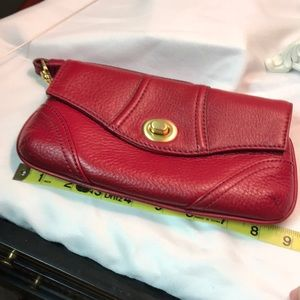 Talbots red leather wristlet